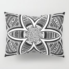 wholeness white mandala on black Pillow Sham