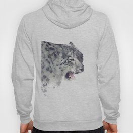 Snow leopard portrait watercolor on white background Hoody