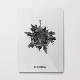 Moscow, Russia Black and White Skyround / Skyline Watercolor Painting Metal Print