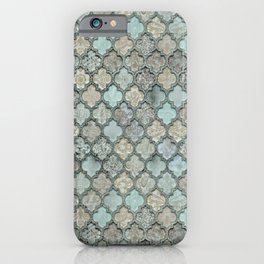 Old Moroccan Tiles Pattern Teal Beige Distressed Style iPhone Case