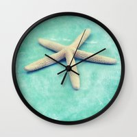starfish Wall Clocks featuring starfish by Sylvia Cook Photography