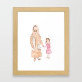 Jesus with Girl Framed Art Print