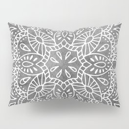 Mandala Vintage White on Ocean Fog Gray Pillow Sham