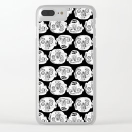 Loco Tribesmen_White on Black Clear iPhone Case