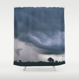 Evening thunder storm and clouds over rural scene. West Acre, Norfolk, UK. Shower Curtain