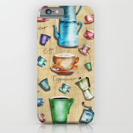 Vintage Coffee Poster. Cups, Pots, Grinders iPhone Case