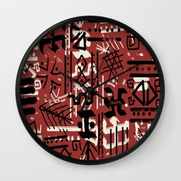 Ethnic Style Sketch black,white on red clay ex large Wall Clock