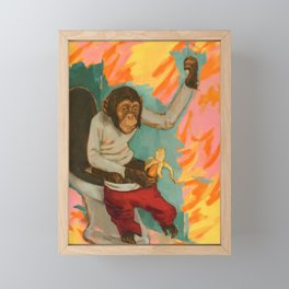 """Primitive Neurological Circuitry (Chimp on Toilet)"" Framed Mini Art Print"
