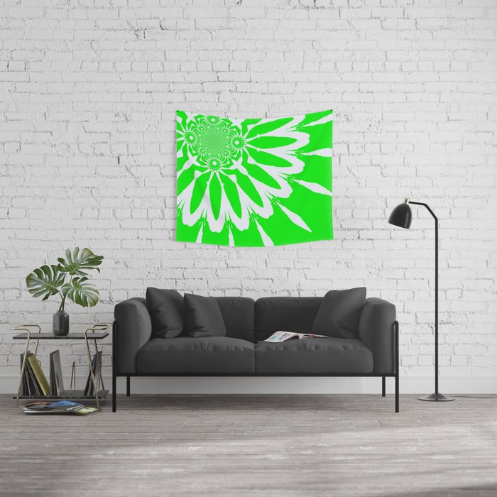 The Modern Flower Lime Green Wall Tapestry