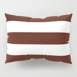 French puce - solid color - white stripes pattern Pillow Sham