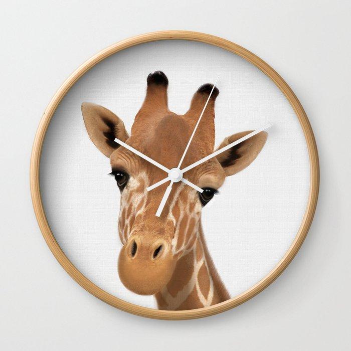 Safari Nursery Art Giraffe Print Animals Wall Baby Clock
