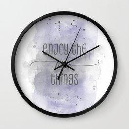 Enjoy the little things   watercolor purple Wall Clock