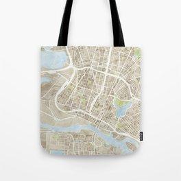 Oakland California Watercolor Map Tote Bag