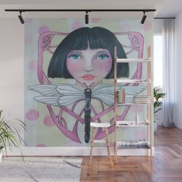 Art Deco Face and Dragonfly Wall Mural