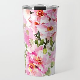 Cherry Blossom, pink floral art Travel Mug
