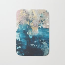 Timeless: A gorgeous, abstract mixed media piece in blue, pink, and gold by Alyssa Hamilton Art Bath Mat