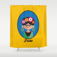 frida Shower Curtains featuring Frida by Juliana Motzko