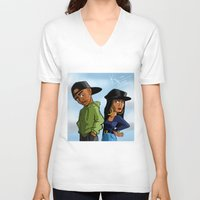 tupac V-neck T-shirts featuring Poetic Justice by Kimbo Henry