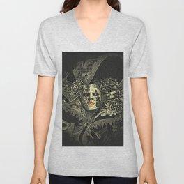 Halloween, baroque Venetian spooky mask Unisex V-Neck