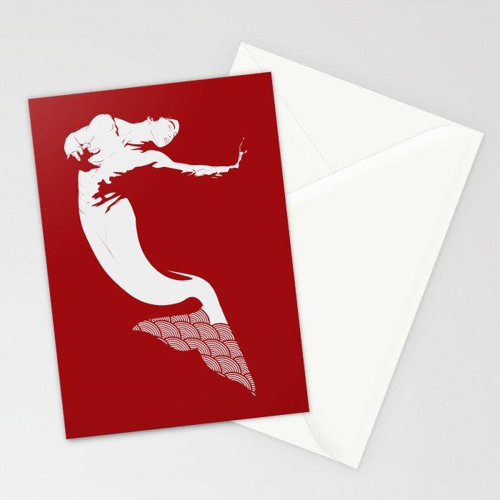 Merman - Red & White - Mermay 2019 Stationery Cards