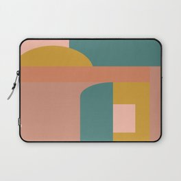 Geometric Shapes Color Block in Green, Gold, and Rust Laptop Sleeve