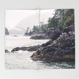A Rainy Day on the Coast of Pacific Ocean in Tofino, British Columbia Throw Blanket