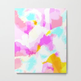 Bailee - Bright neon pink, blue, yellow abstract art Metal Print