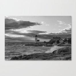 Annisquam Lighthouse Black and white Canvas Print