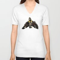 singapore V-neck T-shirts featuring Singapore Bird by June Chang Studio