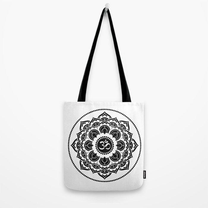 Black and White Mandala   Flower Mandhala Tote Bag