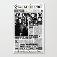 "snape Canvas Prints featuring Daily Prophet ""NEW Head Master, Severus Snape"" by Win Graphics"