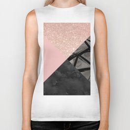 Modern pastel pink black strokes watercolor color block Biker Tank