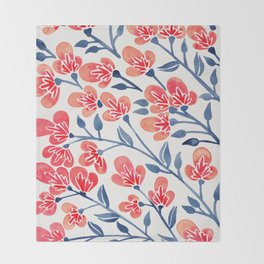 Cherry Blossoms – Melon & Navy Palette Throw Blanket
