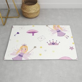 Cute Fairytale Pattern With Stars, Mushroom and Magic Wand Pattern Rug