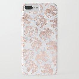 Boho rose gold floral paisley mandala elephants illustration white marble pattern iPhone Case