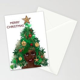Afro Christmas Tree Design Cards & Gifts Stationery Cards