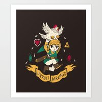 hyrule Art Prints featuring hyrule airlines brown by Louis Roskosch