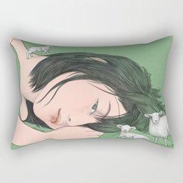 GIRL WITH SHEEP Rectangular Pillow