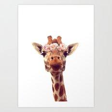 Flower crown giraffe Art Print