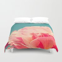 shabby chic Duvet Covers featuring Shabby Chic Rose Photograph by Scarlett Ella