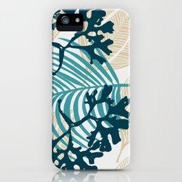 Algues et Feuilles sur fond blanc iPhone Case
