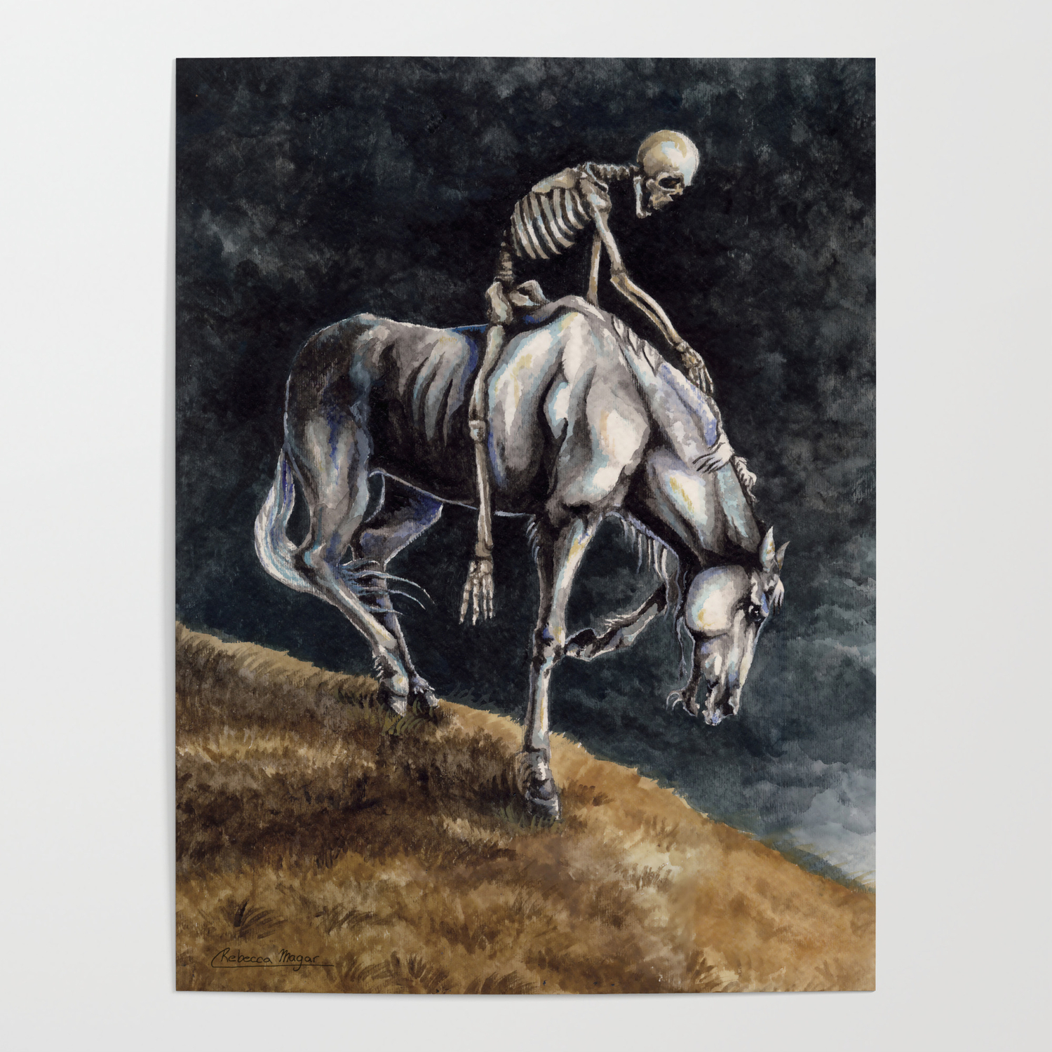 Skeleton Riding A Pale Horse Poster By Wailingwizard Society6