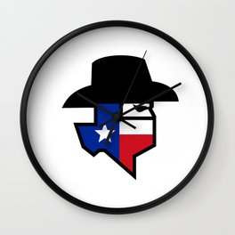 Bandit Texas Flag Icon Wall Clock