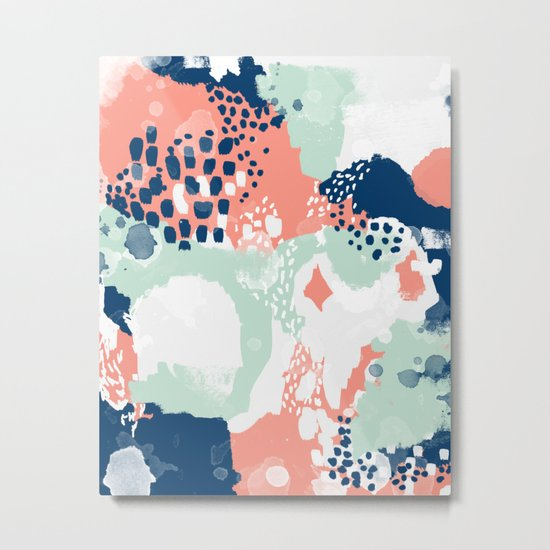 Bristol - acrylic painting abstract navy mint coral modern color palette Metal Print