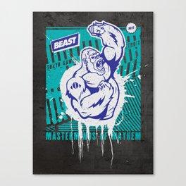Mayhem Ape (Teal on Gun Metal) Canvas Print