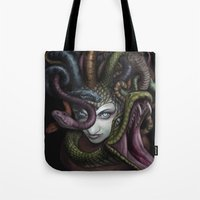medusa Tote Bags featuring Medusa by Cliff Roth
