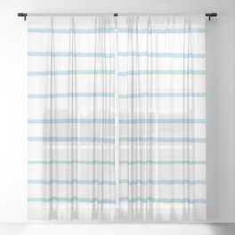 VA Healing Aire Blue - Angelic Blue - Soothing Blue Hand Drawn Horizontal Lines on White Sheer Curtain