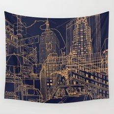 New York! Night Wall Tapestry