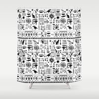 egyptian Shower Curtains featuring Egyptian Pattern by Mad Love