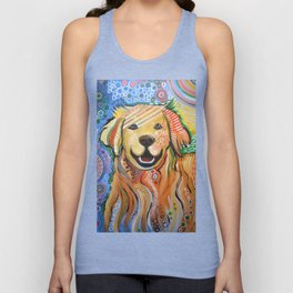 Max ... Abstract dog art, Golden Retriever, Original animal painting Unisex Tank Top
